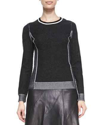 Taylor Metallic-Trim Knit Sweater & Kelly A-Line Leather Skirt