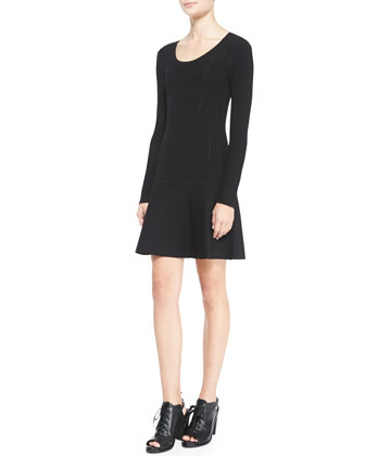 Isla Long-Sleeve Ribbed-Knit Dress