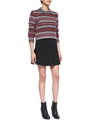 Harper Felt Coat, Hailey Crewneck Sweater & Isla Knit Pleated Skirt