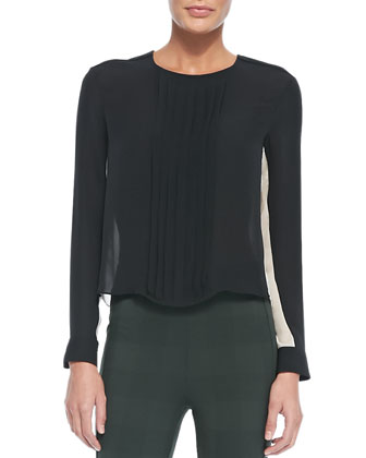 Simone Pintucked Contrast-Side Blouse