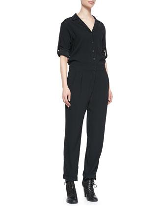 Rose Tab-Sleeve Jersey Jumpsuit