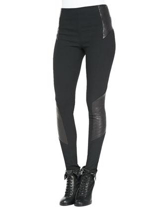 Elettra Ponte/Leather Leggings