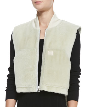 Shearling Fur Work Vest & Isla Long-Sleeve Ribbed-Knit Dress