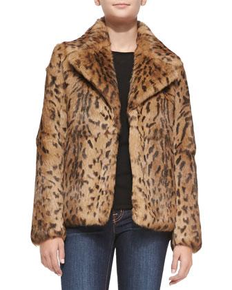 Leopard-Print Rabbit Fur Jacket