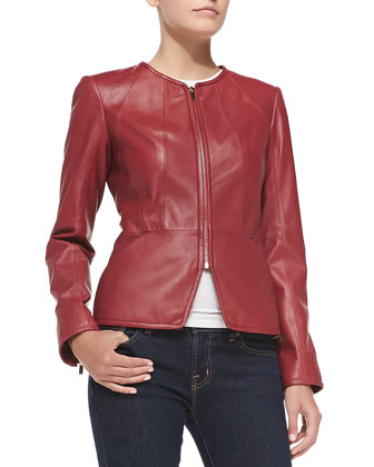 Zip-Cuff Pebbled Leather Jacket