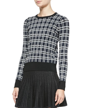 Diggs Long-Sleeve Plaid Sweater & Street Stretch A-Line Skirt