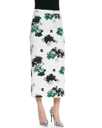 Devoe Silk Printed Top & Bell Silk Floral-Print Skirt