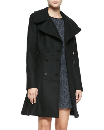 Claire Double-Breasted Fit-and-Flare Coat