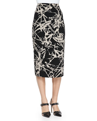 Tevin Cropped Turtleneck Sweater & Bell Long Floral-Print Pencil Skirt