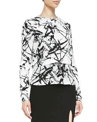 Presley Two-Tone Print Top & Tonne Pencil Skirt With Front Slit