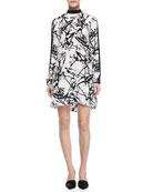 Isley Printed Mock-Neck Dress