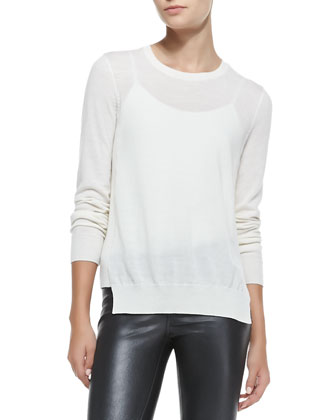 Theodate Sheer Ribbed-Hem Sweater & Nicola Zipper-Cuff Leather Moto Pants