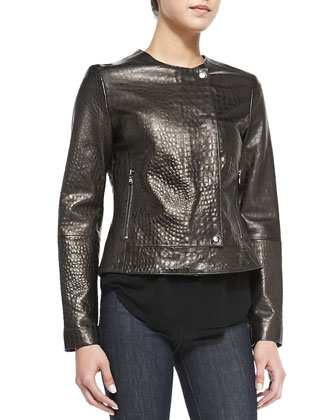 Crocodile-Embossed Metallic Leather Jacket, Nadja V-Neck Shirttail Cami ...