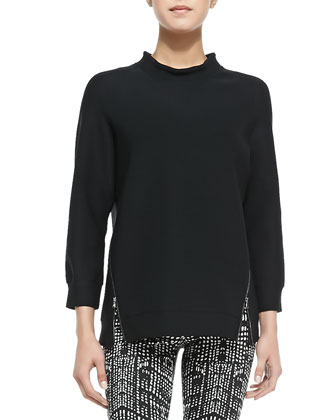 Kerry Zip-Hem Knit Top