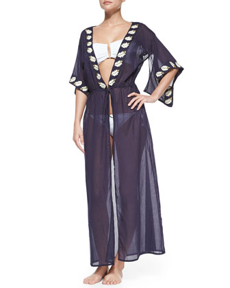 Tie-Front Embroidered Voile Coverup
