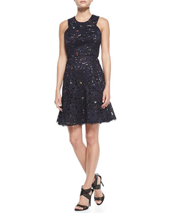 Sleeveless Confetti Lace Overlay Dress