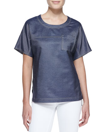 Silk Denim Short-Sleeve Tee