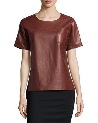 Short-Sleeve Leather Tee, Sienna Brown