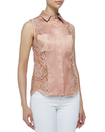 Sleeveless Button-Down Corded Lace Shirt