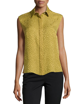 Spotted Silk Flyaway-Back Top, Palm