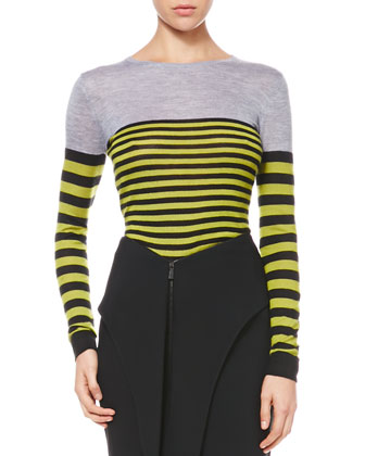 Multicolor Striped Knit Pullover