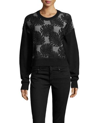 Cropped Lace Combo Sweatshirt