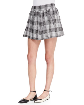 Tweed Plaid Circle Skirt, Black/Ivory