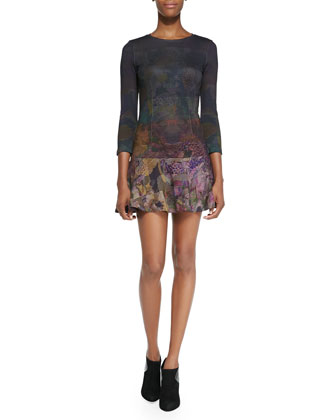 Ombre Geometric Floral Print Flounce Dress