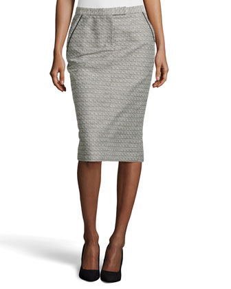 Tweed Trouser Skirt, Black/White
