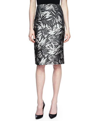 Botanical-Print No-Waistband Skirt