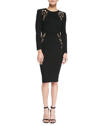 Marie Filigree Embroidered Cutout Dress, Black