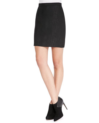 Luxe Croc-Embossed Skirt, Black