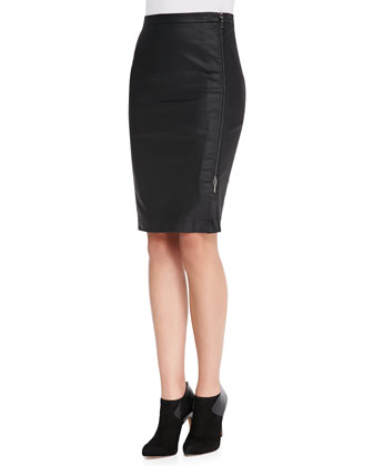 Gazelle Sateen Pencil Skirt, Black