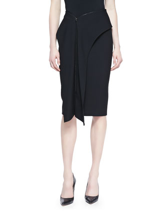 Cascade Front Zipper Skirt