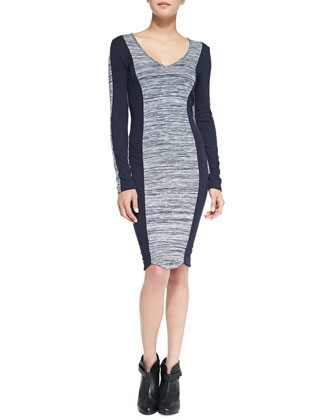 Colorblock Space-Dyed Sheath Dress, Navy
