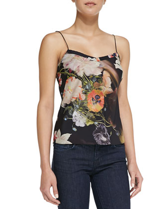 Cynaria Floral Print Scalloped Camisole