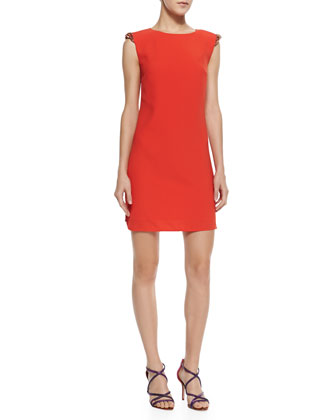 Reevah Crystal-Embellished-Shoulder Dress, Tangerine
