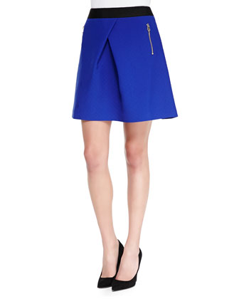Tillah Zip-Pocket Skater Skirt, Blue