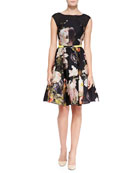 Opulent Bloom-Print Fit-and-Flare Dress, Black