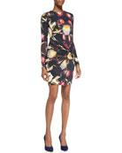Petal-Print Twisted-Knot Sheath Dress, Black