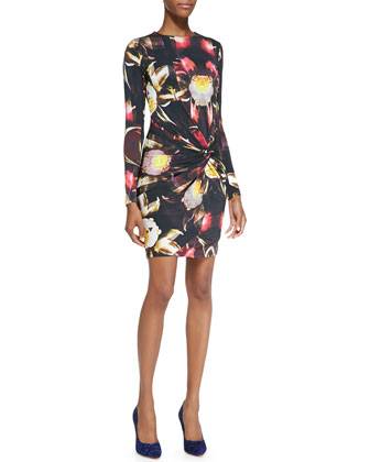 Petal-Print Twisted-Knot Sheath Dress, Black