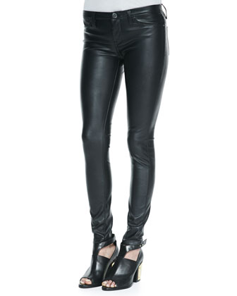 Spray On Faux-Leather Super Skinny Jeans, Black