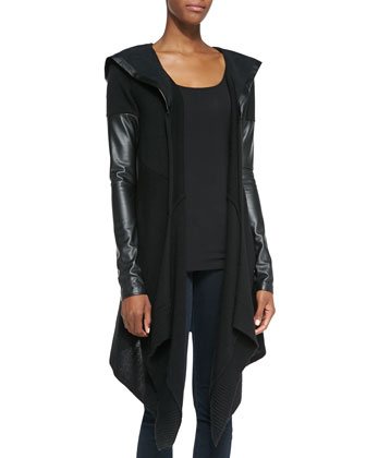 Hooded Faux-Leather Contrast Cardigan, Black