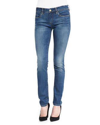 Distressed Medium Wash Skinny Jeans, Blue