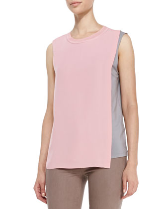 Renee Sleeveless Two-Tone Blouse & Azella Cropped Skinny Jeans