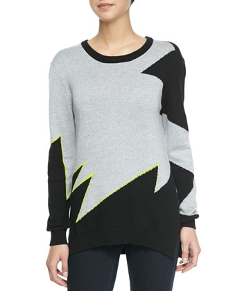 Broken Zigzag Print Three-Tone Sweater, Gray/Black/Neon Yellow