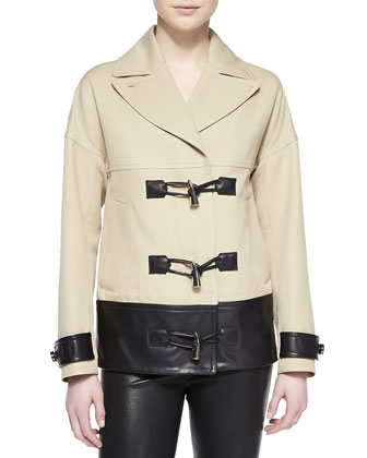 Cropped Toggle-Front Leather-Trim Coat