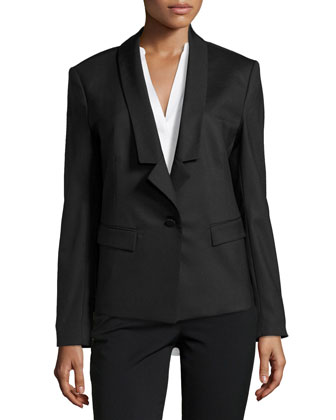 Lightweight Relaxed Tuxedo Jacket, Black