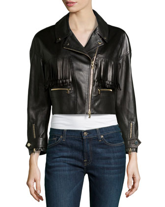 Leather Fringed Motorcycle Jacket, Black