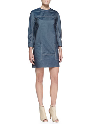Silk Denim Smock Dress